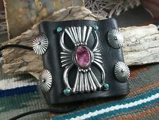 Leather Wrist Band with Silver and Gemstones