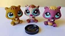 Littlest Pet Shop LPS Trio Beaver Tattoo Brown Teal Eyes Set of 3 Collectible