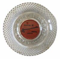 "Vintage Bubble Clear Hobnail Glass Ashtray MCM 4.75"" Rockin' R Motel Denver CO"