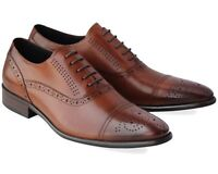 BRAND NEW MEN'S BROWN LEATHER SMART LACE UP SHOES SIZE UK 9 / EU 43