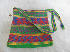 Navajo HAND WOVEN Tapestry Shoulder HANDBAG Tote Bag PURSE Multi Color Horse GUC