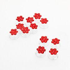 12 Curlies Curlie Haarnadeln Blumen Kristall Rot 1,1cm Haarschmuck Hochzeit