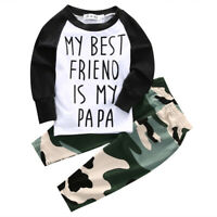 US Stock Toddler Kids Baby Boy T Shirt Tops+Camouflage Pants Outfits Clothes Set