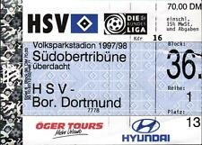 Ticket BL 97/98 Hamburger SV - Borussia Dortmund, Südobertribüne