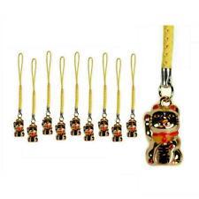 LOT OF 10 LUCKY GOLD CAT BELL CHARM Maneki Neko Kitty Brass Hanging Phone Strap