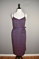 ANN TAYLOR NEW $129 Blue Red Rope Stripe Belted Dress Size 14
