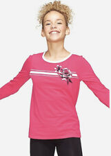 Justice Girl's Size 10 Long Sleeve Ringer Tee in Pink New with Tags
