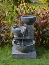 Solar Granite Cascading Bowls Water Feature with LED light Batteries and Charger