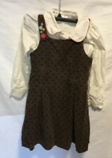 Gymboree 2 pc brown Corduroy polka dots dress blouses 7 Girls all about buttons