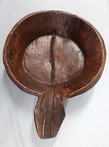 Antique Antique Hand Carved 1800s Folk Art Turtle Effigy Kneading Dough Bowl