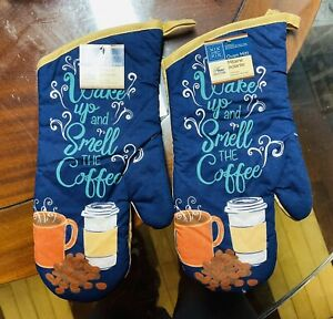 Home Collection Kitchen Oven Mitts Mittens Wake Up & Smell The Coffee. Lot of 2.