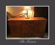 Solid Pine Merchant Cabinet / Sideboard with Purveyor Style Metal Handles. VGC