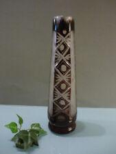 Antike Kristall Vase dunkelrot mit Schliffdekor und geätzt