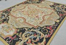 8' x 10' Shabby French Aubusson Flat Weave Rug Black Light Gold Blue Pastel Pink