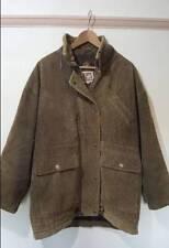 Dos más uno de color caqui abrigo Hippy Boho Vintage Cable corudroy Size UK 12