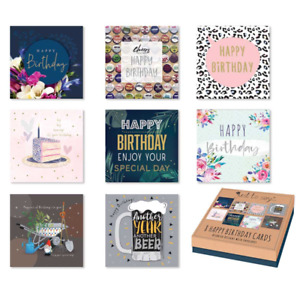 Multi Pack x 8 Mixed Assorted Happy Birthday Cards Adult Dad Mum Greeting Card