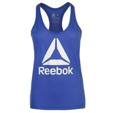 Ladies Genuine Reebok Lightweight Workout Logo Muscle Back Tank Top Size 6-18 Deep Cobalt 6 (xs)