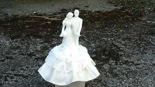 "PORCELAIN CERAMIC WHITE BRIDE GROOM WEDDING CAKE TOPPER IVORY SATIN BOWS  7"" TAL"