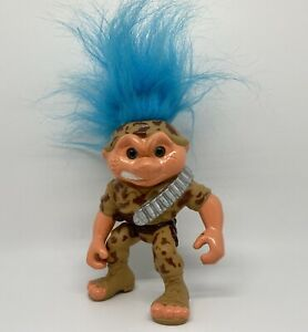 Vintage 1992 Battle Trolls Military Doll Figure by Hasbro, Camo & Blue Hair Toy