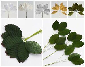 Artificial Satin-SIlk Leaves - Miniature Corsage Buttonhole Bouquet Leaf Stems