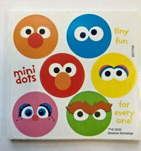 60 Sesame Street Face Dot Stickers Party Favor Teacher Supply Big Bird Elmo Zoe