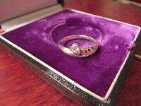 Hübscher 925 Silber Ring Modern Vintage Ver Goldet Blau Rot Grün  Tutti Frutti