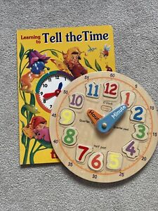 Kids Tell The Time Wooden Clock & Book Bundle