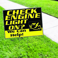 Check Engine Light On We Can Help Plastic Indoor Outdoor Coroplast Yard Sign