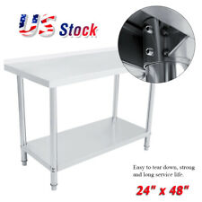 """24"""" x 48"""" Work Table Food Prep Stainless Steel Commercial Kitchen Restaurant Usa"""