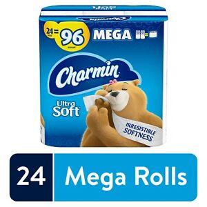 Charmin Ultra Soft Toilet Paper 24 Mega Roll (96 Regular) 2 Ply
