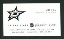 Jim Nill signed autograph auto Dallas Stars General Manager Business Card BC261