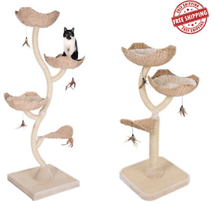 FLOWER Shaped Cat Tree SCRATCHING POST Activity Centre w/ Toys 130cm & 183cm