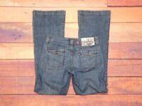 "Indigo Palms Women's Dark Wash Flare Leg Pocket Flap Jeans Sz 2R 26"" W x 32"" L"