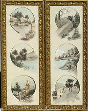 Lot de 2 cadres aquarelles 1910 Savoie Original