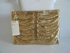 Vintage Signed Whiting Davis Mesh Gold Clutch Never Used with orig tag