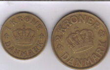 2 OLDER COINS from DENMARK - 1 & 2 KRONE (BOTH DATING 1926)