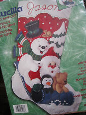 "Bucilla Christmas Holiday Felt Applique Stocking Craft KIT,WINTER FUN,84436,18"""