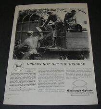 Magazine Ad 1942 WW2 Art Norman Price Mimeograph Duplicator Quick Change of