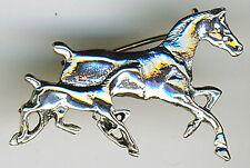 """925 Sterling Silber Paar galoppierende Pferde Brosche Stute & Fohlen Pony Colt W1.1/2"""""""