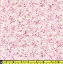 Pink Butterfly and Roses Spring Cotton Sewing  22.5 cm Fabric 1/4 yard off bolt