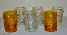 6 pc Bormioli Rocco SORGENTE Clear & Yellow Old Fashioned tumblers Rocks glasses
