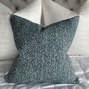 """Decorative 16"""" Cushion Cover Teal Durable High Quality Woven Textured Fabric"""