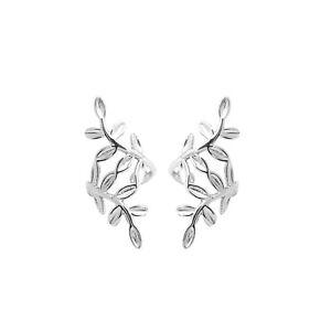 Sterling Silver No Piercing Leaves Earring Clip On Wrap Cuff Earring