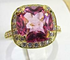 Seidengang 18 KT Yellow Gold with Pink Tourmaline and Diamonds Ladies Ring sz 7