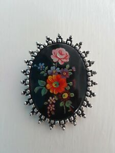 Vintage Sarah Coventry Brooch Floral Russian inspired