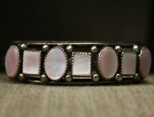 Vintage Native American Navajo Mother of Pearl Sterling Silver Cuff Bracelet