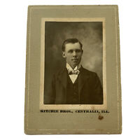 Antique Cabinet Card Photograph Handsome Young Man Centralia, Illinois