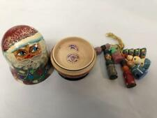Russian Wooden 4 Nested Dolls Handpainted Santa With Christmas Tree Ussr