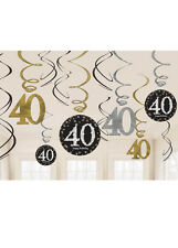 Gold and Black 40th Birthday Swirl Decorations
