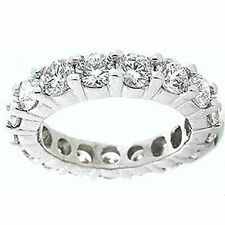 Gold Band Size 7.5, F-G color Vs/Si1 3.16 carat Round Diamond Eternity Ring 14K
